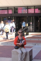 In front of the British library with Rick Steves in hand.