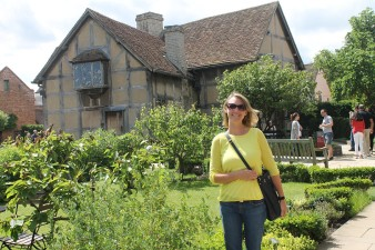 In front of Shakespeare's birthplace.